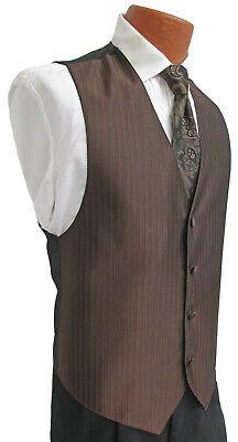Men's Mocha Brown Jean Yves Tuxedo Vest & Tie Formal Wedding Cruise Prom Paisley ()