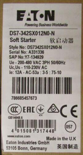 EATON DS7 342SX012N0 N 12 Amp 3-10HP 110-480V Soft Starter