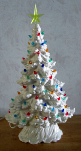 Vintage Style New White Large Tampa Bay Window Sill/Slim Ceramic Christmas Tree