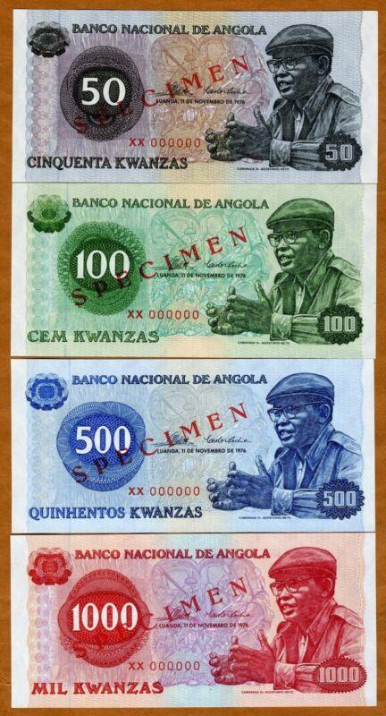 SPECIMEN Set, Angola, 50;100;500;1000 Kwanzas, 1976, P-110s;111s;112s;113s UNC