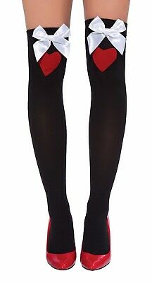 sexy ROMA evil QUEEN of HEARTS thigh HIGHS wonderland STOCKINGS bows PANTYHOSE ()
