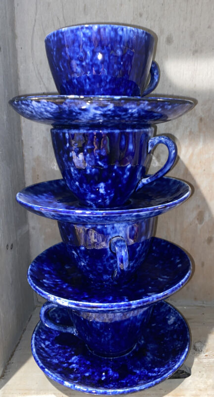Blue Caughley Stangl  Four Teacups And Saucers Tiffany Beautiful