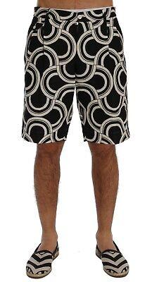 Nuevo Dolce & Gabbana Shorts Negros Blanco Estampado Lino Rodilla Alto IT54/W39