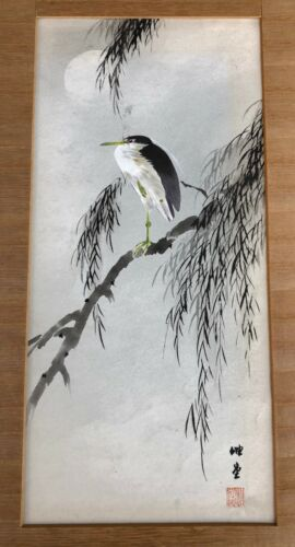 "ANTIQUE JAPANESE ""HERON BIRD AND FLOWERS"" ORIGINAL WATERCOLOR PAINTING ON PAPER"