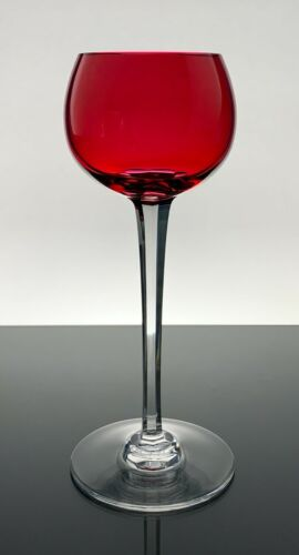 BACCARAT CRYSTAL RHINE WINE RED COLOR GLASS MINT CONDITION!!!