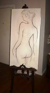 Original Charcoal nude, with a gorgeous ornate wooden easel Cheltenham Kingston Area Preview