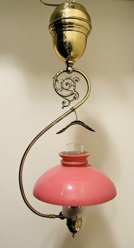 Gas Gravity Lamp Sun Vapor or Best w/ Pink Shade & Best Chimney, Non-Coleman