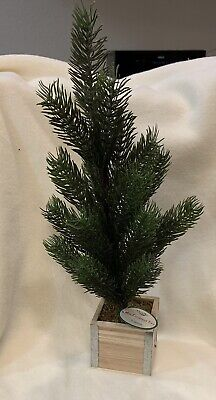 """Mini Artificial Evergreen Tabletop 15""""Tree In Wooden Box With Metal Edges - NEW ()"""