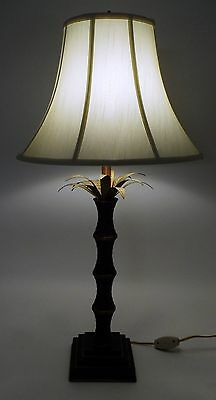"34"" Tropical Bahama Palm Tree Table Lamp w/ Verdigris Metal Fronds Woven Base"