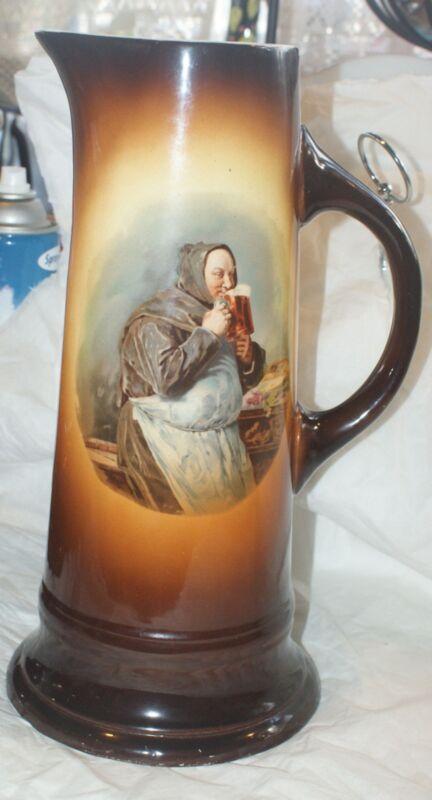 "Antique VINTAGE PITCHER  Friar Monk Tankard 14"" WARWICK CHINA MARK DRINK BEER"