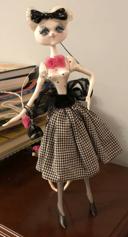Artist Anthromorphic Cat Doll in 1950s Retro fashions Swing Skirt