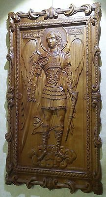 Icon St Michael the Archangel. 3D Art Orthodox Wooden Carved picture. 13