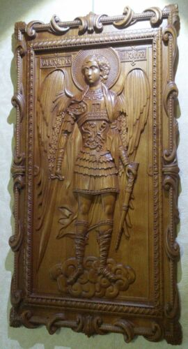 St Michael the Archangel. Wood Carved picture. gift for him, gift for mom
