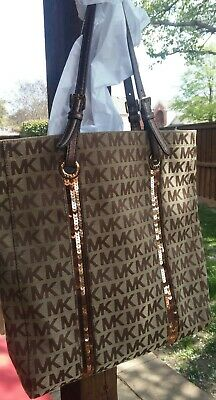 Michael Kors Handbag Purse Sequin Stripes Bag tote MK Logo see description
