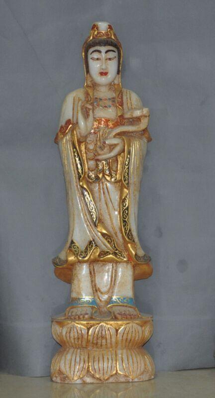 "32""chinese Old Jade Gilt Hand-carved Kwan-yin Guanyin Bodhisattva Buddha Statue"
