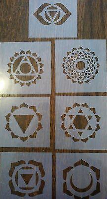 CHAKRA FULL SET X 7 Mylar Stencil Reusable Airbrush Art Craft Wall Stencil