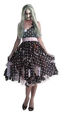 Zombie Hausfrau Erwachsene Damen Kostüm Gepunktet Schwarzes Kleid