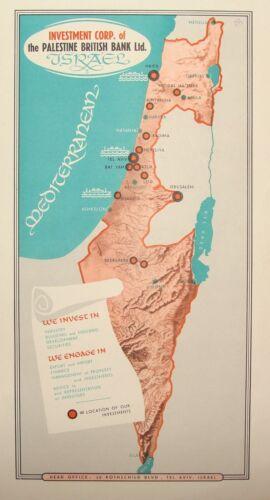RARE Vintage Orig Israel Israeli Palestine British Bank Ad Poster Print Art ROLI