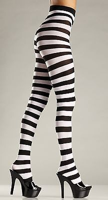 Striped Tights Black and White Tights 679 BeWicked Tights Wide Stripes Halloween (Black And White Striped Tights)