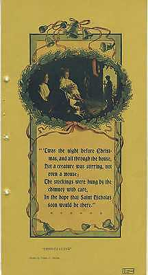 1906 A VISIT FROM ST NICHOLAS 6x12 Vintage Color Printed Photo w/ Christmas Poem