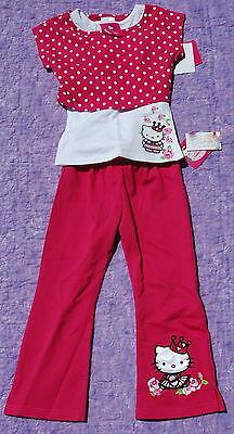 Princess Hello Kitty Girls Set Of Pants & T-shirt Pink Sz 4 $39.98