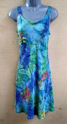 Blue Green Leaves Batik Fit & Flare Bali Tank Top Sun Dress  S, M, L, XL, 2X ()