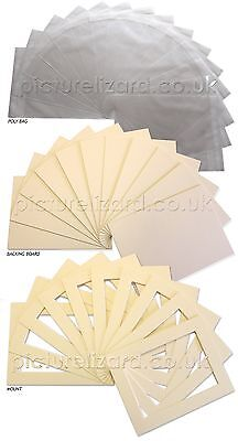 Medium Picture Photo Mount Kits. Inc Bevel edge mounts, Backing Boards and Bags