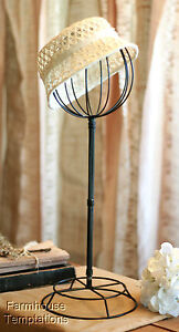 BLACK HAT STAND Store RACK Wig DISPLAY Shabby VINTAGE Chic METAL Wire IRON Form