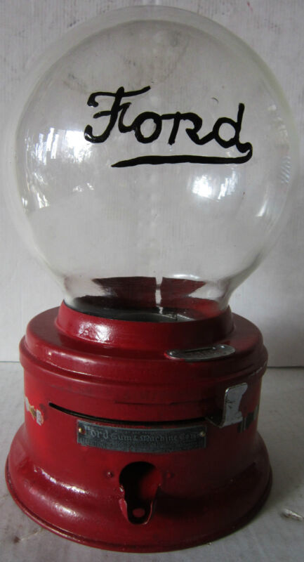 Ford Round Embossed Penny Gumball Machine Circa 1930