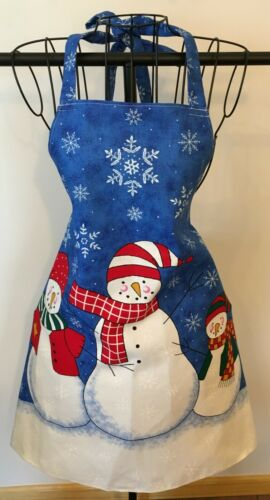 Snowmen Apron Handmade Sewn From Panel Fabric Blue & White NEW UNWORN
