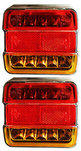 2 LED Light Rear Board Lamps Tail BRAKE STOP INDICATOR LAMP Trailer Truck Lorry