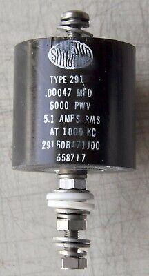 Sangamo High-voltage Ceramic Capacitor 470 Pf 6kv 5.1 Amp 1 Khz Type 291