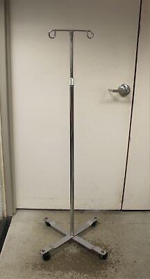 Rolling Wheeled 2-hook 4-leg Iv Stand Pole - Adjustable - Used Style 1