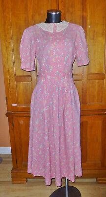 80s Dresses | Casual to Party Dresses LAURA ASHLEY Vtg 80s Floral Cotton Lace Collar Garden midi DRESS 14 UK / 12 US $129.00 AT vintagedancer.com