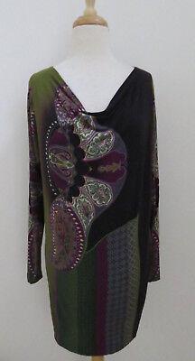 (ETRO Paisley print jersey shift dress sz 42 Draped neck)