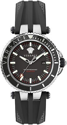 Versace V-Race Diver Men's Watch Black Silicone Silver Steel 46mm VEAK00118