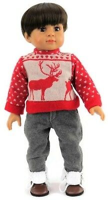 18 inch Doll Clothes for American Girl Boy-Red Reindeer Sweater and Gray Pants ](Boys Reindeer Sweater)