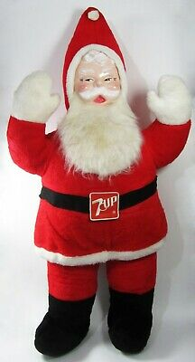"Vintage Plush Santa Claus Rushton Style Face 7up Store Display Large 46"" Tall"