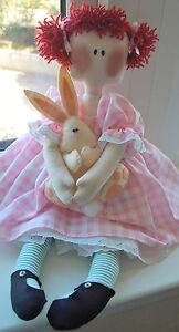 PRIMITIVE FOLK ART SEWING PATTERN 'SALLY' LARGE RAG DOLL & FELT BUNNY