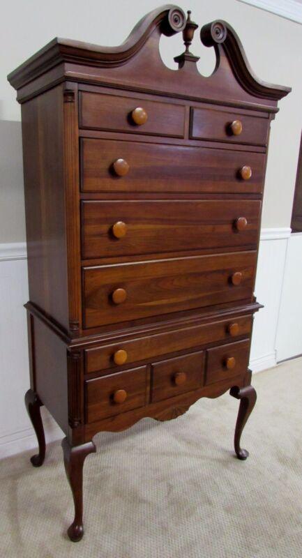 Jamestown Table Company Cherry Queen Anne High Boy Chest, 7 Drawer High Dresser