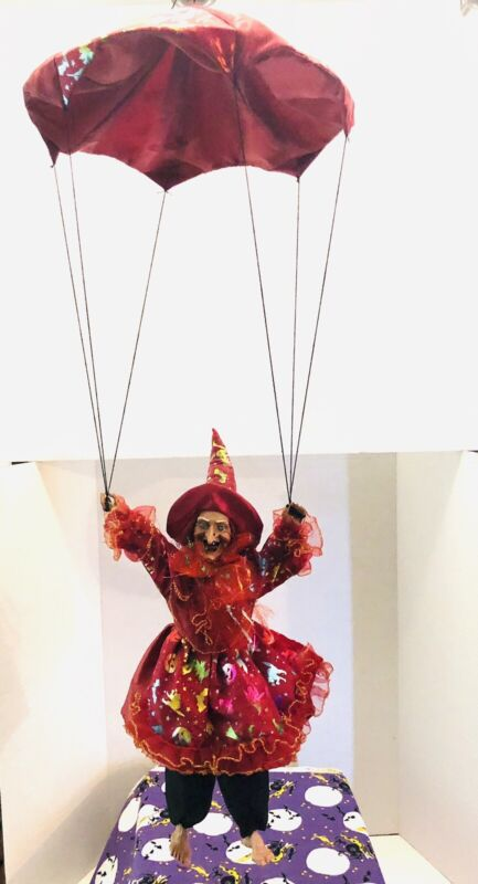"""VTG HALLOWEEN LAUGHING WITCH ON A PARACHUTE HANGING HOME DECOR 18"""""""