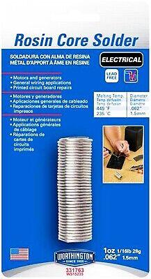 Electrical Solder Rosin Core Lead Free 1 Oz .062 Electric Worthington 331763