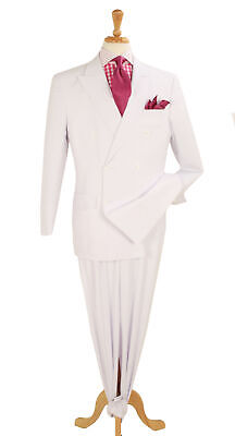 Mens 54L Apollo King Classic Fit Solid White 6-On-2 Double Breasted Suit - White Suit