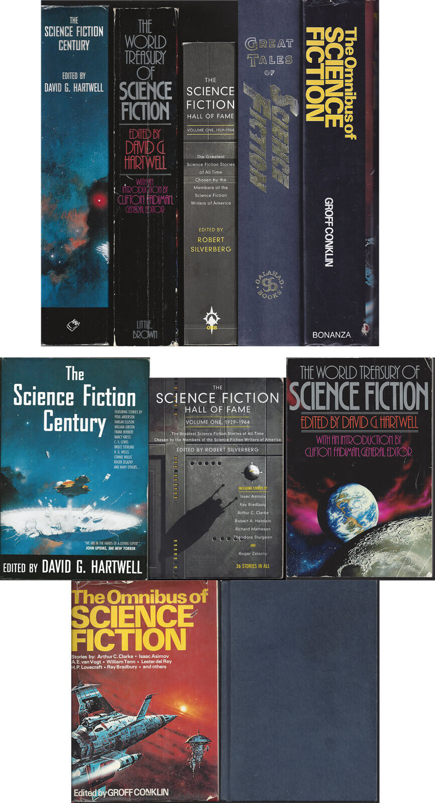 LOT OF FIVE LARGE SCIENCE FICTION ANTHOLOGY BOOKS 3700 Pages Used - $20.00