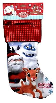 1X Rudolph The Red Nose Reindeer Theme Sequin Embellished Christmas Stocking 16