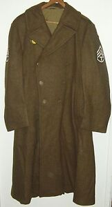 WWII US Army Wool Overcoat Long Coat Trench Coat w/ Patches