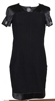 CHANEL Black Dress Wool Blend Satin Shift Cap Sleeve Gripoix Sz 38 2015