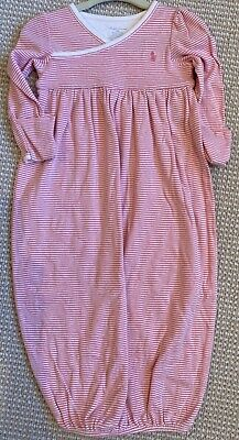 Ralph Lauren Baby Girl Pink Stripe Polo Pajama Gown Coverall 9m 9 Months $30