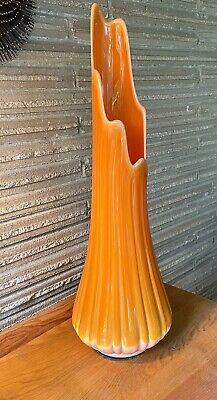 """Vintage MCM L E Smith ORANGE BITTERSWEET SLAG GLASS SWUNG  VASE 22""""💥"""