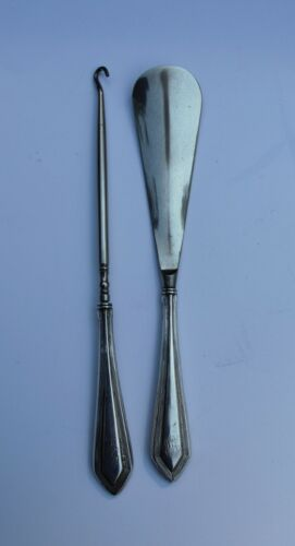 Sterling shoe button hook and shoehorn